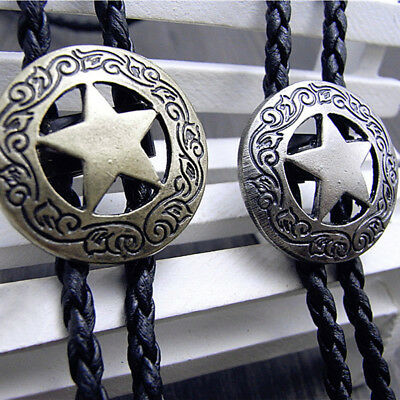 Retro Bolo Tie Star Western Cowboy For Mens Women Leather Rope Vintage Classic