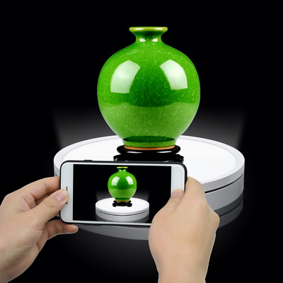 """50cm 20""""3D Photo 360° Rotating Display Stand Rotary Luminous LED Turntable 220V"""