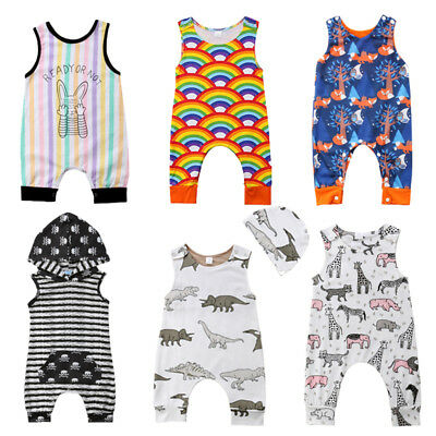 Newborn Kids Baby Boys Girl Vest Romper Jumpsuit Playsuit Clothes Outfits Summer