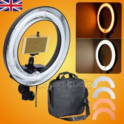 UK 400W 5500K 13'' 34cm Dimmable Ring Lamp w/ Color Filter + Camera Phone Holder
