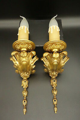 Unique Creation - Pair Sconces Stamped, Louis Xv Style - Bronze - French Antique