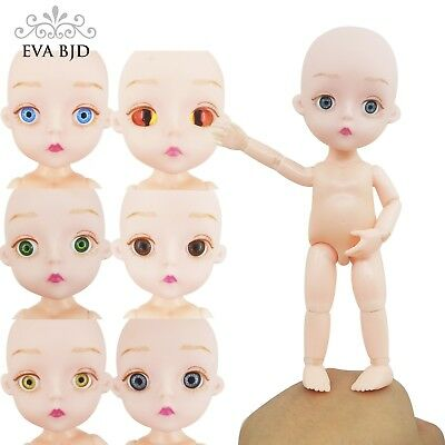 "1/8  5.9"" BJD SD Doll Jointed Dolls Girl 15cm Naked No Hair Soft Head Hard Body"