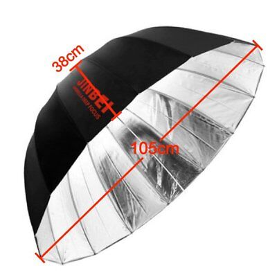 Jinbei Studio Φ105cm 41'' Black & Silver 16 Rods Deep Umbrella fr Flash Lighting