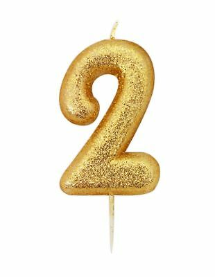 10cm Gold Glitter Number 2 Candle 2nd Birthday Party Cake Decoration Supplies