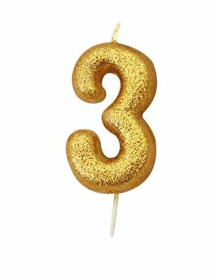 ** 10CM GOLD GLITTER NUMBER 3 CANDLE 3rd BIRTHDAY PARTY CAKE DECORATION NEW **