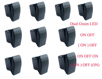 Car Boat ON OFF, ON OFF ON, Momentary Rocker Switch SPST DPDT Dual Green Led