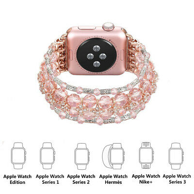 For Apple Watch 1/2/3 Bling Pearl Beads Strap Bracelet iWatch Band 42mm/38mm Hot