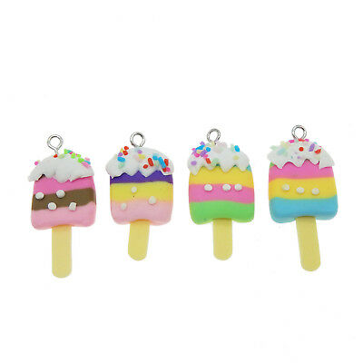 10 Pcs Handmade Polymer Fimo Clay Ice suckers Charms Pendants for Jewelry Making