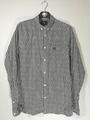 Fred Perry Medium M Long Sleeve Small Check Gingham Shirt Black  White Button