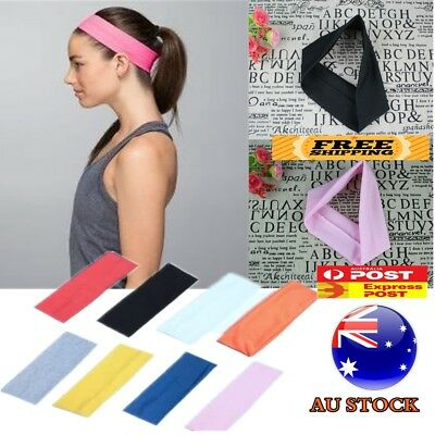 Sports Headband Gym Stretch Cotton Yoga Head Hair Band Dance Girls Women Kids AU