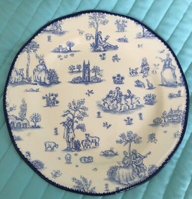 """WOOD & Sons England  Blue & Cream Toille  de Jouy Dinner Plate 10 3/4"""" Scallop"""