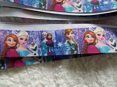 New 2 metres of Grosgrain Cake Ribbon 22 mm Features Frozen  Anna Elsa And Olaf