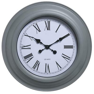 Large Grey Wall Clock Roman Dials Numerals Home Decoration Kitchen Station Room