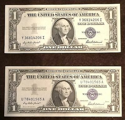 1935 AND 1957 (2 NOTE LOT) Silver Certificate AU+ CU condition NICE! FREE P/H