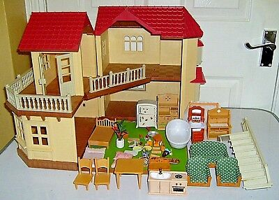 Sylvanian Families Beechwood Hall House Fully Furnished Great Condition