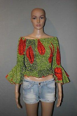 Kente  Print  African Ankara Wax Print Fabric Women Crop Top Blouse All Size