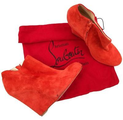 best sneakers a6d2b 41c1a CHRISTIAN LOUBOUTIN BELLE Zeppa Boots Red Size 8.5 Authenticity Guaranteed