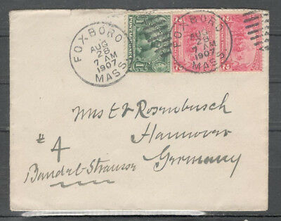 United States of Amerika Damenbrief FOXBORO MASS 28.8.1907 MiF to Hannover