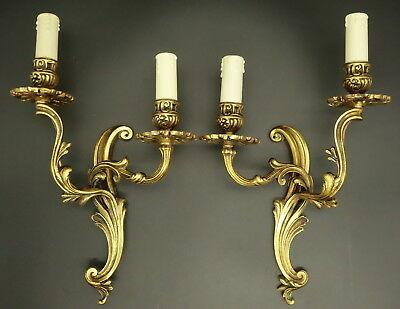 Pair Of Large Sconces, Louis Xv Style - Petitot France - Bronze - French Antique