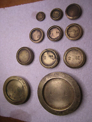11 Old Avery Imperial Solid Brass Scale Weights Greengrocer Hardware Post Office