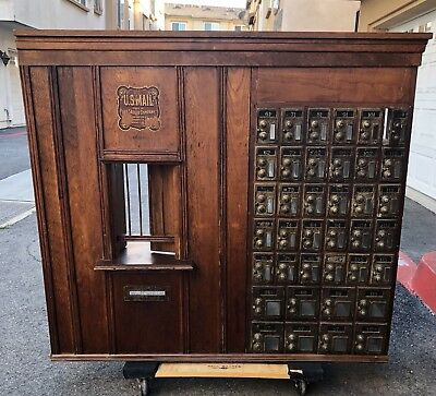 FANTASTIC Antique Window Teller Post Office with Counter, Teller Cage