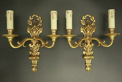 Pair Of Sconces, Louis Xvi Style - Bronze - French Antique