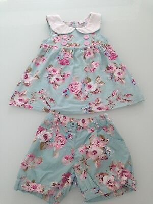 girls next beautiful blue floral vintage style top and shorts bundle age 5/6