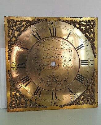 "18th Century, 11"" Brass Grandfather Clock Dial, Carvell of Ipswich."