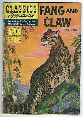 Classics Illustrated 123 Fang And Claw Frank Buck Strato Publications Ltd Good-