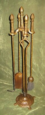 Antique Cahill Arts & Craft Nouveau Iron Fireplace Tool Set 4pc Firetools Stand