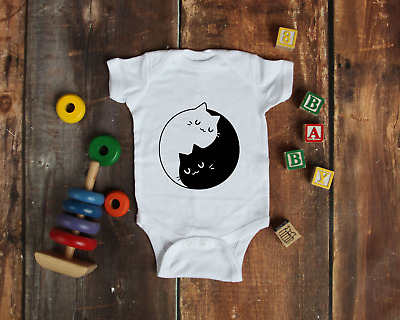 Yin Yang Cats Cat Lover Baby Bodysuit Babygrow Unisex Gift Baby Shower