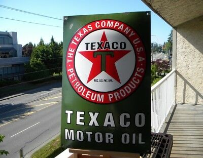 "XL TEXACO MOTOR OIL OLD PORCELAIN METAL SIGN ~23-1/2"" x 15-1/2"" GAS STATION PUMP"