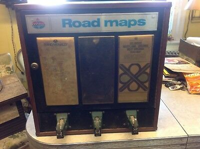 Vintage Amoco service station road map vending machine