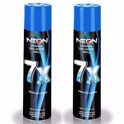 2 CANS NEON 7X BUTANE FUEL Refined 7 Times Ultra Pure Gas Premium Lighter Fluid