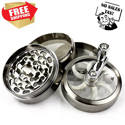 Tobacco Grinder 4Pcs Herbal Smoke Tough Alloy Metal Chromium Crusher with handle