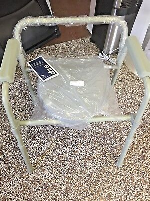 NEW  Drive Medical Steel Folding Bedside Commode, Grey