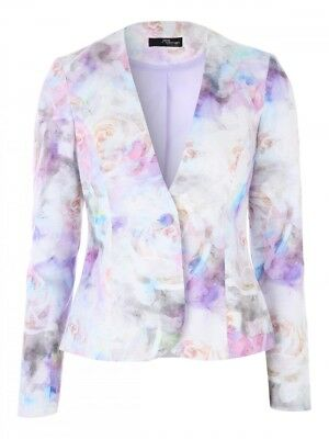 Jane Norman Blurry Floral Jacquard Aquarelle Roses Patterned Jacket Size UK 14