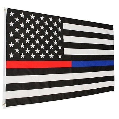 Thin RED & BLUE Line Flag 3x5 Ft - Fire Fighter Firefighter -Police American Law