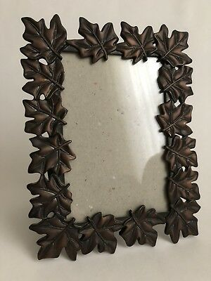 Metal Leaves Picture Photo Frame 4x6 Brown Tabletop Home Room Decor