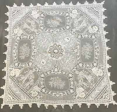 Antique Brussels Mixed Lace Tablecloth Topper Whitework Cluney Needle Filet etc