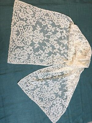 """Antique French Alencon Lace Runner  Floral Pattern  15"""" x 44"""""""