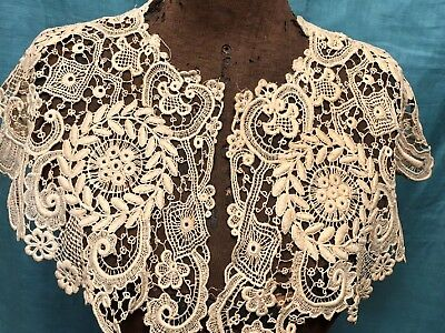 """Antique Schiffli Lace Collar  8"""" wide   Flowers and Wreaths"""