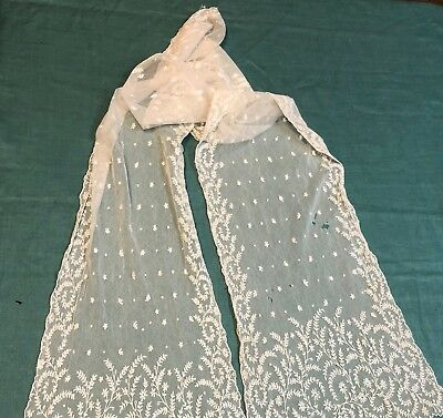 Antique Tambour Embroidered Net Lace Runner Shawl Lappet with Leaves and Flowers