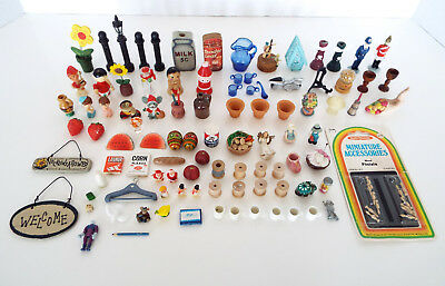 97 MINIATURES COLLECTION Dollhouse Figures Food Dishes Finials Mixed ESTATE LOT