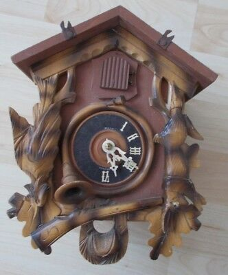 Old Black Forest Carved German Cuckoo Clock Hare Bird Shooting Spares Or Repair