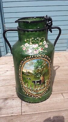 French full-sized hand painted canal art milk churn