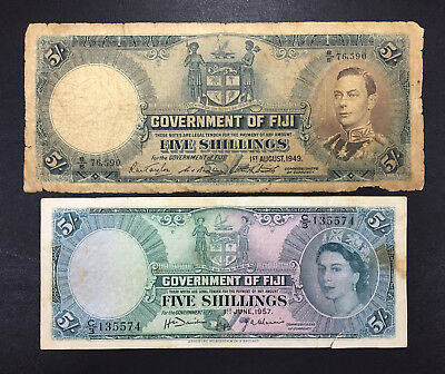 Government of Fiji  - FIVE SHILLINGS ( King 1949 + Queen 1957 )