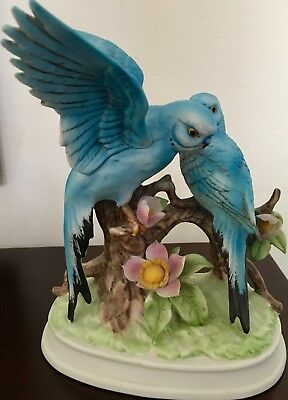 Vintage Blue PARAKEET Pair on Branch Porcelain Figurine / HIMARK Japan