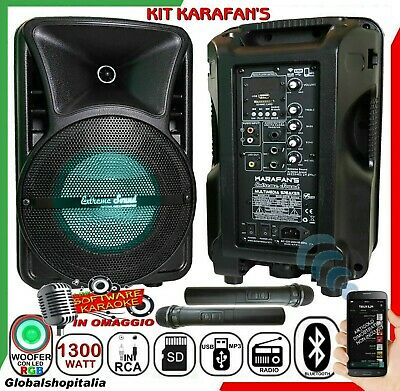 KIT KARAOKE COPPIA DI CASSE 1100W IMPIANTO RADIO MICROFONI RCA Mp3 Bluetooth USB