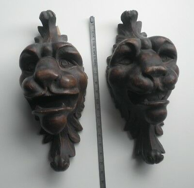 Antique carved wooden lion heads  furniture parts